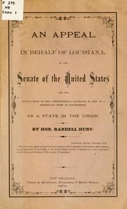 Cover of: An appeal in behalf of Louisiana | Hunt, Randell