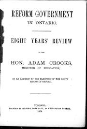 Cover of: Reform government in Ontario | Adam Crooks