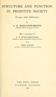 Structure and function in primitive society, essays and addresses