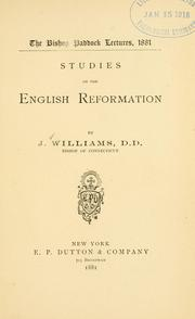 Cover of: Studies on the English Reformation by Williams, John