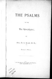 Cover of: The psalms of the Apocalypse | D. B. Blair