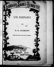 Cover of: Un disparu by G. A. Dumont