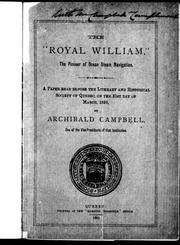 "Cover of: The "" Royal William"", the pioneer of steam navigation 