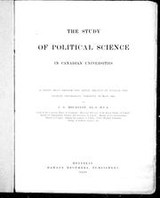 Cover of: The study of political science in Canadian universities | Bourinot, John George Sir