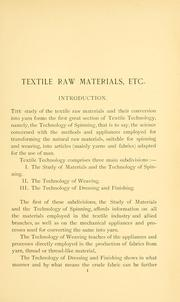 Cover of: Textile raw materials and their conversion into yarns by Julius Zipser