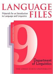 Cover of: LANGUAGE FILES 9TH EDITION | OHIO STATE UNIV OSU DEPT LINGUISTICS