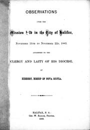 Cover of: Observations upon the mission held in the city of Halifax | Hibbert Binney