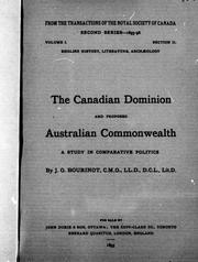 Cover of: The Canadian Dominion and proposed Australian commonwealth | Bourinot, John George Sir