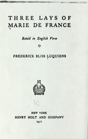 Cover of: Three lays of Marie de France | Marie de France, Marie de France