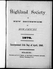 Cover of: Highland Society of New Brunswick at Miramichi by Highland Society of New Brunswick at Miramichi.
