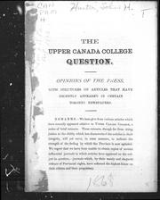 Cover of: The Upper Canada College question | J. Howard Hunter