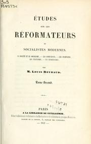 Cover of: Études sur les réformateurs contemporains | Reybaud, Louis