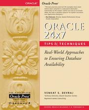 Cover of: Oracle 24x7 Tips and Techniques | Venkat S. Devraj