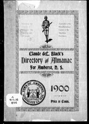 Cover of: Claude deL. Black's directory and almanac for Amhurst, N.S., 1900 | Claude deL Black