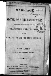 Cover of: Marriage with the sister of a deceased wife | Laing, John