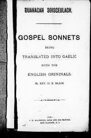 Cover of: Gospel sonnets, being translated into Gaelic with the English orininals [i.e. originals] | D. B. Blair