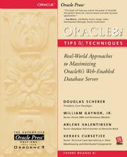 Cover of: Oracle8i tips & techniques | Douglas Scherer, William Gaynor, Arlene Valentinsen, Exerxes Cursetjee, Xerxes Cursetjee
