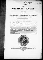 Cover of: The Canadian Society for the Prevention of Cruelty to Animals | Canadian Society for the Prevention of Cruelty to Animals.
