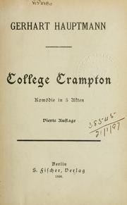 Cover of: College Crampton | Gerhart Hauptmann