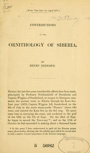 Cover of: Contributions to the ornithology of Siberia | Henry Seebohm