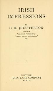 Cover of: Irish impressions by G. K. Chesterton