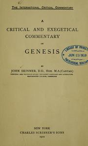 Cover of: A critical and exegetical commentary on Genesis | Skinner, John