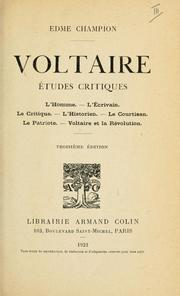 Cover of: Voltaire by Edmé Champion