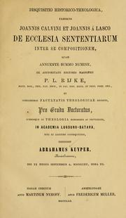 Cover of: Disquisitio historico-theologica | Abraham Kuyper