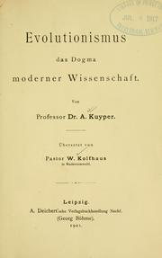 Cover of: Evolutionismus | Abraham Kuyper