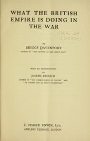 Cover of: What the British Empire is doing in the war by Briggs Davenport
