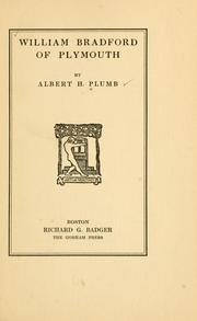 Cover of: William Bradford of Plymouth | Albert Hale Plumb