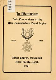 Cover of: In memoriam | Military Order of the Loyal Legion of the United States. Ohio Commandery.