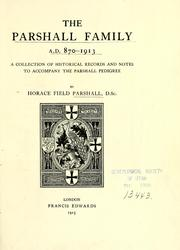 Cover of: The Parshall family, A.D. 870-1913 by Horace Field Parshall