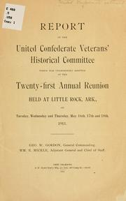 Cover of: Report of the United Confederate veterans' historical committee | United Confederate veterans