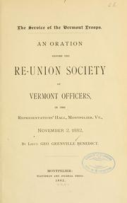 Cover of: The service of the Vermont troops | George Grenville Benedict