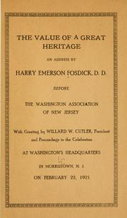 Cover of: The value of a great heritage | Harry Emerson Fosdick