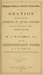 Cover of: Washington's birth-day--celebration at Irving college | Irving college, Manchester, Md
