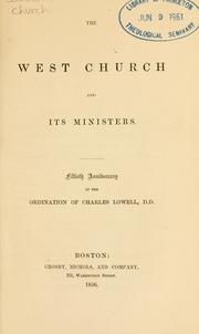 Cover of: The West Church and its ministers | Boston, Mass. West Church.