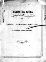 Cover of: Grammatica Greca | Antonio Klodic