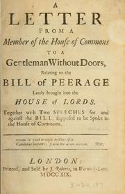 Cover of: A letter from a member of the House of Commons to a gentleman without doors | Molesworth, Robert Molesworth 1st viscount
