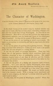 Cover of: The character of Washington | Robert Charles Winthrop
