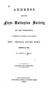 Cover of: Address before the First Unitarian society of San Francisco | Robert Bunker Swain