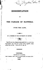Cover of: A dissertation on the passage of Hannibal over the Alps | Henry Lewis Wickham