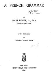 Cover of: A French grammar | Louis Bevier