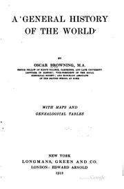 Cover of: A general history of the world | Oscar Browning
