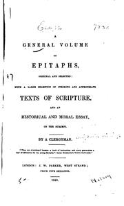 Cover of: A general volume of epitaphs, original and selected | Benjamin Richings