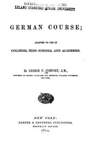 Cover of: A German course | George F. Comfort