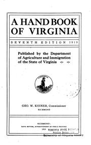 Cover of: A hand book of Virginia | Virginia. Dept. of agriculture and immigration