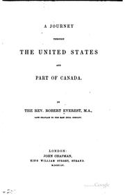 Cover of: A journey through the United States and part of Canada by Robert Everest