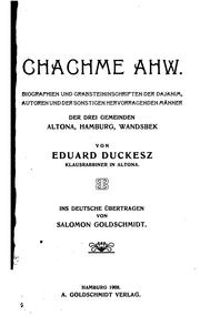 Cover of: Ḥakhme AHW by Eduard Duckesz